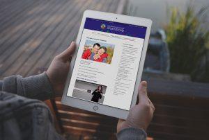 Vue d'une tablette tactile, présentant le site Vie affective et sexuelle et handicap. Photo : MFBFC